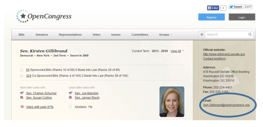 opencongress_Gillibrand_email